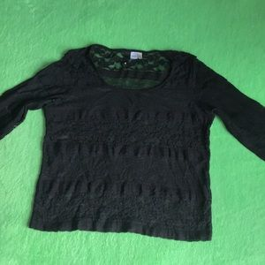 Divided by H&M blouse lace black 3/4 sleeve